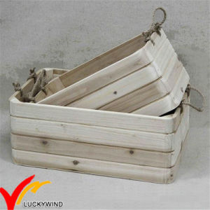 Rope Handle Stackable Handmade Vintage Wood Planter Box pictures & photos