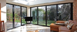 Four Panel Aluminium Folding Door with Frost Glass pictures & photos