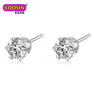 Fashion Jewelry Round 5mm CZ Diamond Stud Earrings for Women pictures & photos