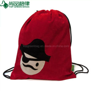 High Quality Soft Velvet Drawstring Backpack Bag Pouch for Students pictures & photos