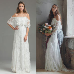 off Shoulder Lace Bridal Formal Gown Shawl Empire Wedding Dress H033 pictures & photos