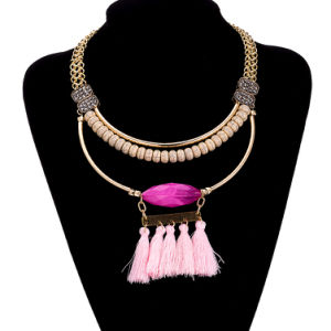 Bohemian Style Beaded Tassel Gold Plated Pendant Necklace Artificial Jewelry pictures & photos