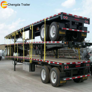 2 Axles 35ton Flat Bed Container 20FT Flatbed Semi Trailer pictures & photos