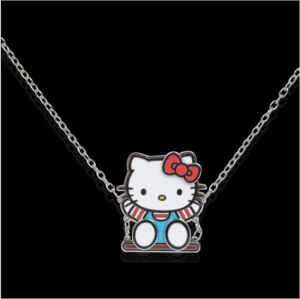 Lovely Cute Enameled Metal Alloy Hello Kitty Swinging Necklace