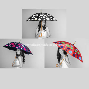 Wood Shaft DOT Color-Changeable Fabric Straight Umbrella (YSC0006) pictures & photos