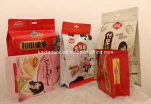 Plastic Quad Food Packaging Flat Bottom Bag with Zipper pictures & photos