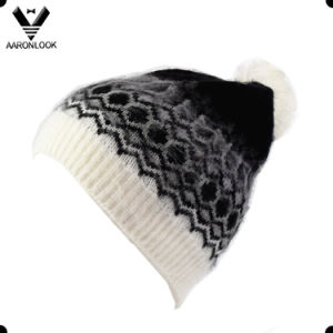 Fashion Winter Acrylic Brushed Hair Geometric Pattern Hat with Bobble pictures & photos
