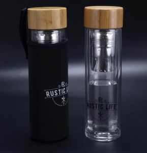 Double Wall Glass Sport Cup Portable Cup Bamboo Lid Wood Lid with Filter pictures & photos