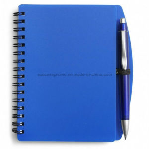 Custom PP Plastic Cover Spiral Agenda Notebook with Pen pictures & photos