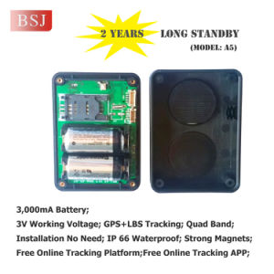 GPRS/GPS Tracker, Portable GPS Chip Tracker with 2 Years Lasting Battery A5b
