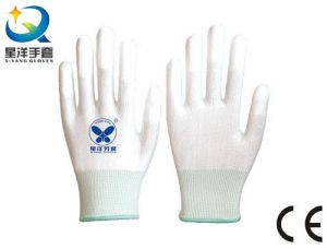 ESD Gloves with Finger Tip PU Coated Safety Work Gloves (PU1007) pictures & photos
