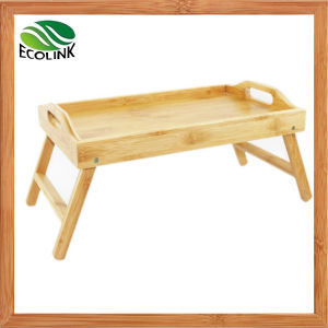 Bamboo Breakfast Bed Tray with Pull Down Leg pictures & photos