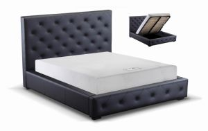 Modern Home Furniture PVC Pneumatic Black Storage Bed pictures & photos