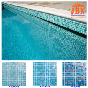 Blue Mixed Color Swimming Pool Glass Mosaic Tile (H420010) pictures & photos