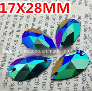 17X28mm Green Ab Pear Drop Resin Sew on Rhinestones Resin Stone pictures & photos