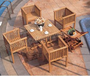 Waterproof Patio Leisure Wood Outdoor Garden Dining Table (JJ-LT26)