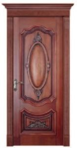 Solid Entrance Mahogany Wooden Door with PU Painting pictures & photos