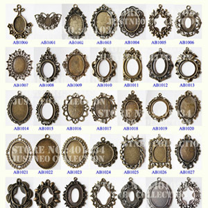 Vintage Alloy Cabochon Settings/Lockets with Antique Bronze/Silver Finish for Amounting Resin Cameos, Stone Cabochones
