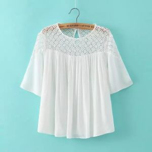 2015 Latest Short Sleeve Summer Sweet White Women Chiffon Blouse pictures & photos