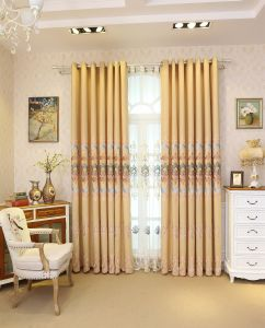 Gold Metallic&Applique Embroidery Curtain (MXC-03) pictures & photos