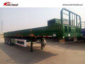 Tri-Axles Flatbed Sidewall Truck Trailer with High Bed pictures & photos