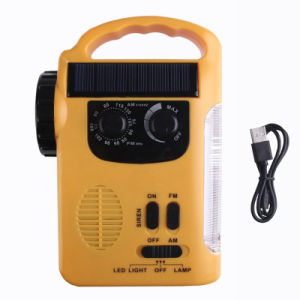 Br-339 LED Multifunction Emergency Solar Dynamo Radio Lights Lamp Outdoor Hand Crank Dynamo USB Cable Charging Light with FM Radio pictures & photos
