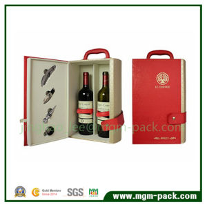 High Quality 2 Bottles Wooden Wine Box with Handle pictures & photos