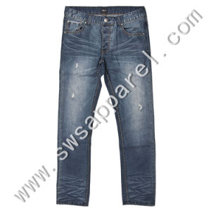 Destroy Wash/Sand Blasting/Whiskering Cotton Jeans pictures & photos