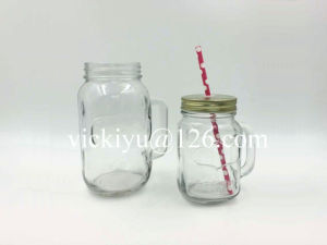 450ml Mason Jar with Lid and Straw