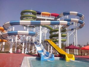 Color Spiral Water Slide, Two Slides, Water Park Equipment pictures & photos