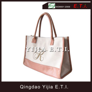 Leather Canvas Tote Bag with Leather Handle pictures & photos