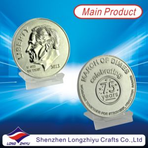 America Liberty Customised 3D Commemorative Metal Silver Coins, Embossed Challenge Badge Fashion Medals Silver Medallion (LZY1300005) pictures & photos