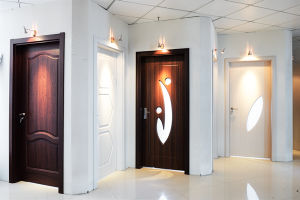 Flush Single Wooden MDF PVC Doors (SC-P054) pictures & photos