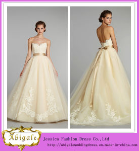 New Hot Elegant Sweetheart Sleeveless Ball Gown Tulle Appliques Pale Yellow Wedding Dresses Yj0011