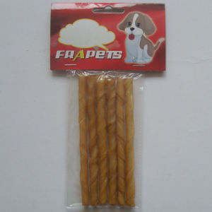 "Dog Chew of 5""/6-8mm Smoked Pork Hide Twist Stick for Dog"