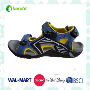 Blue, Yellow and Grey PU Upper, TPR Sole, Sporty Sandals pictures & photos