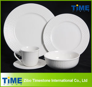 16PCS 20PCS White Embossed Hotel Restaurant Used Porcelain Ceramic Dinnerware Set (622013) pictures & photos