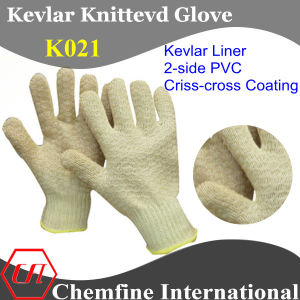 Kevlar Knitter Glove with 2-Side Criss-Cross PVC Coating pictures & photos