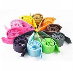 Wholesale Fashion Skinny Plain Color Polyester Silk Men′s Tie (WH04) pictures & photos