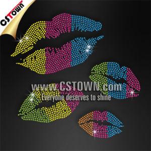 Fashion Clothing Accessory Sexy Lips Custom Iron on Sparkle Transfers