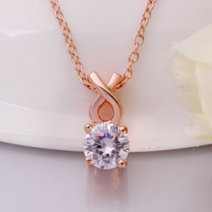 2017 Fashion Gold Round Zircon Pendant Necklace Copper Material Rose Gold Plated pictures & photos