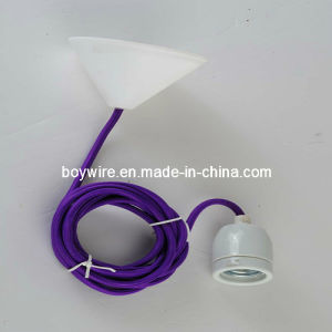 Ceramic Lamp Socket with Ceiling Roses and Purple Power Cord pictures & photos