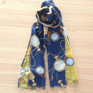 Printed Pure Wool Scarf for Winter, Women′s Wear