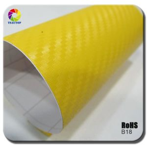 Tsautop 3D Carbon Fiber Vinyl for Car Wrapping& Yellow B18 pictures & photos