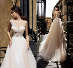 2018 A-Line Wedding Dress Champagne Tulle Lace Bridal Gowns Lb147 pictures & photos