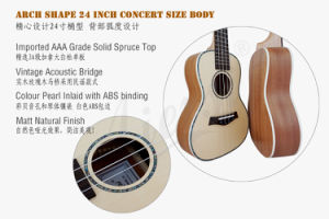 Aiersi 26 Inch Solid Spruce Tenor Ukulele Made in China pictures & photos