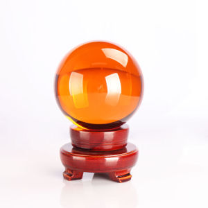 Decoration Balls Glass Craft 150mm Yellow Crystal Ball with Including Wooden Stand pictures & photos