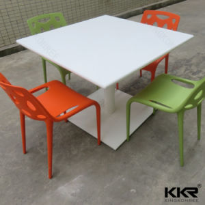 High Glossy Solid Surface Food Court Dining Table with Chairs pictures & photos