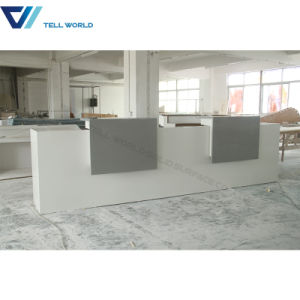 Cheap I Shaped Lighted up Bar Stone High Glossy Stone Restaurant Cashier Reception Desk pictures & photos
