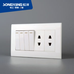 PC White Series 4gang&2socket Wall Socket